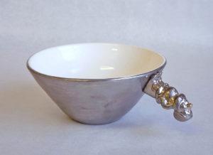 Álfur út á skái, gold ceramic bowl, keramík hönnun